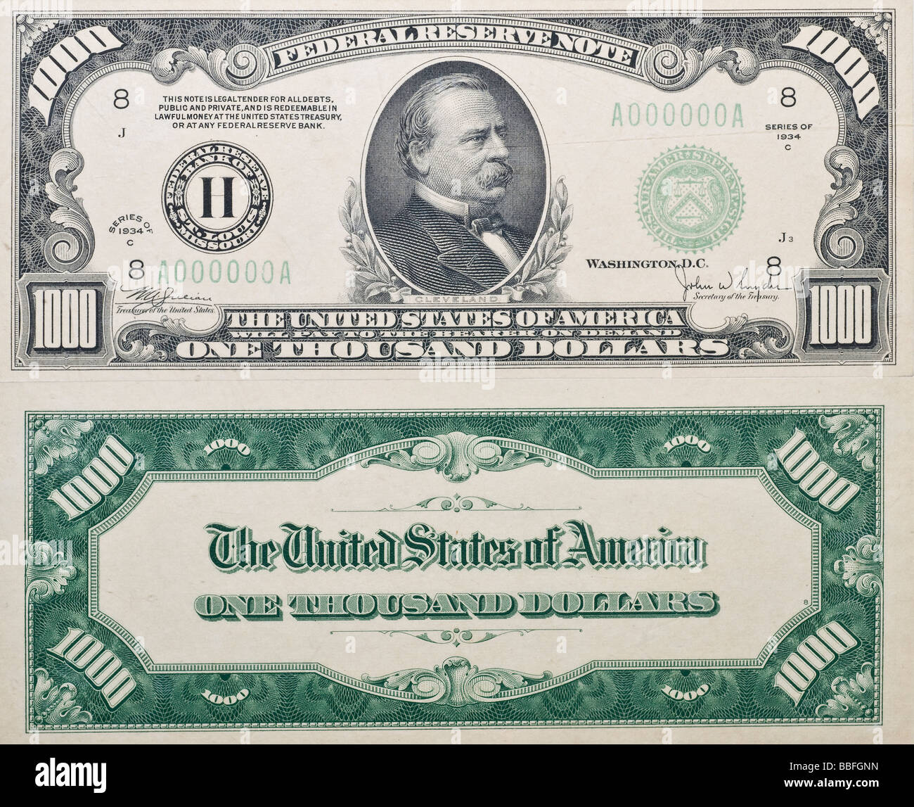 Both sides of a real antique Thousand Dollar Bill from 1934 no longer in circulation shows grover cleveland on front - Stock Image