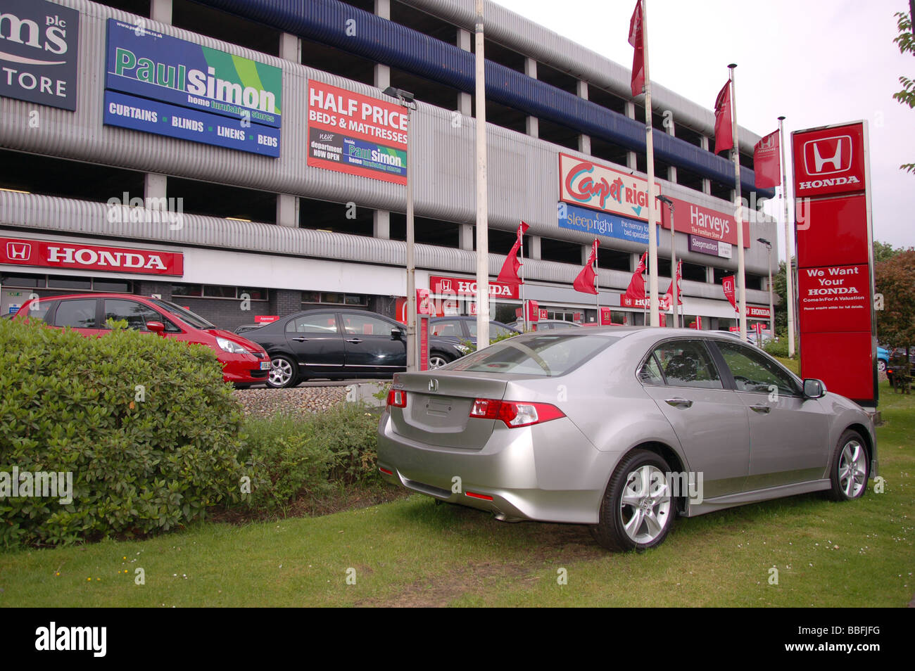 A New Honda Accord Parked Outside The Honda Dealers At Colindale, London,  England,