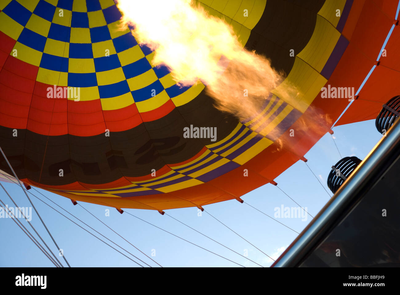 Flame in a hot air balloon - Stock Image