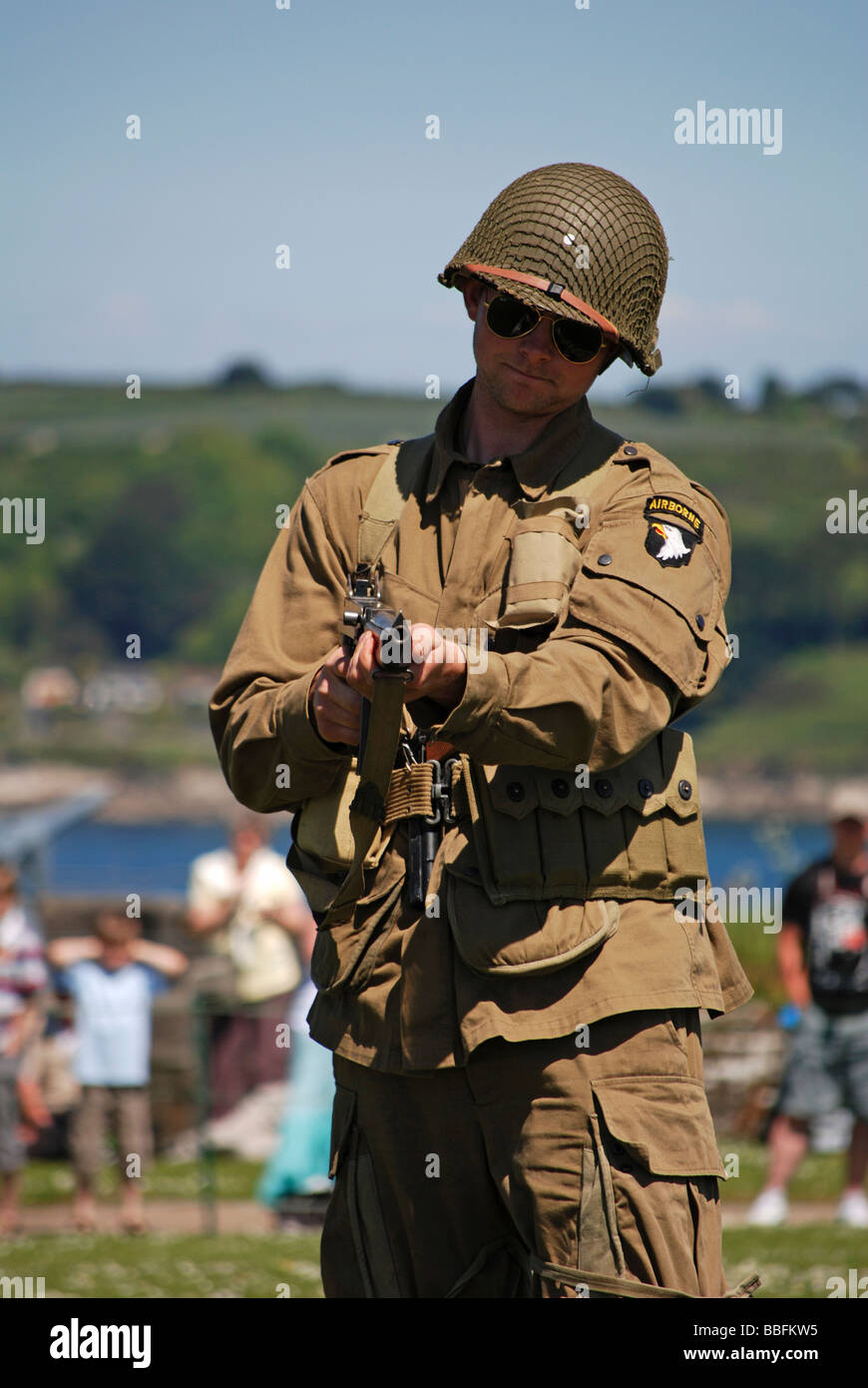 an american paratrooper at a d.day remembrance day in falmouth,cornwall,uk - Stock Image