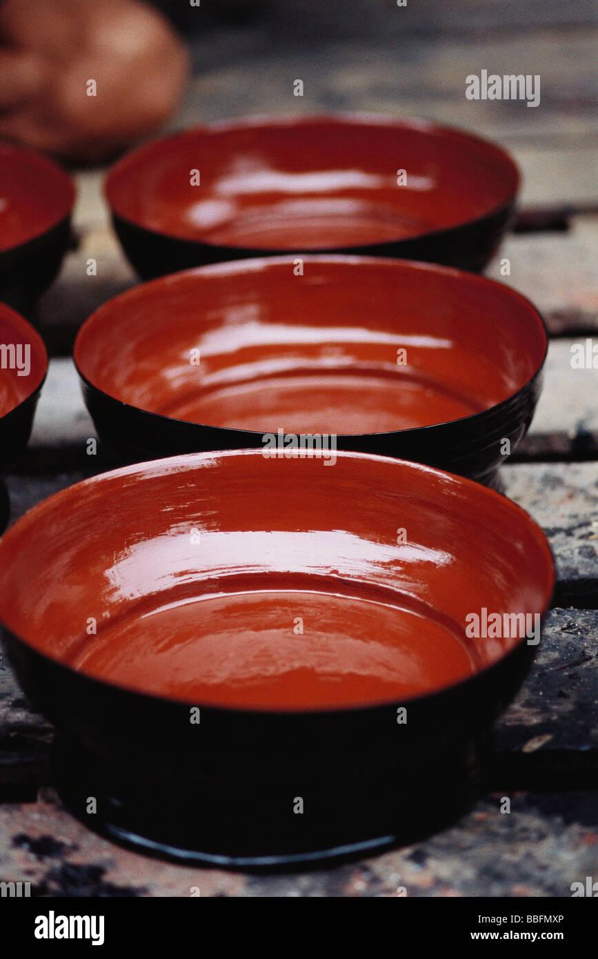 Three bowls arranged in row Stock Photo