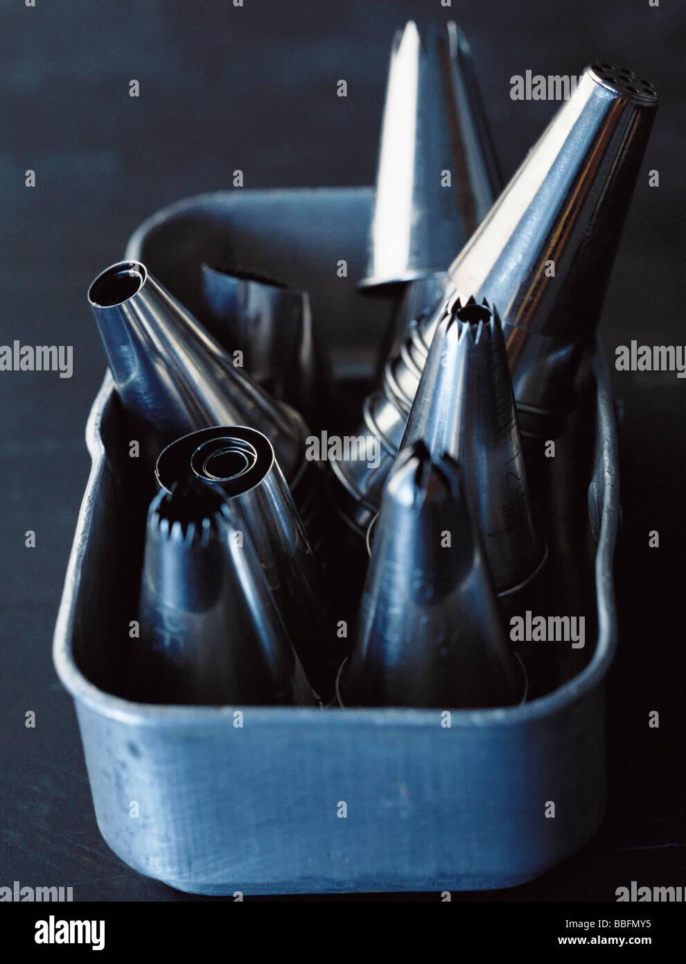 Metal icing nozzles Stock Photo