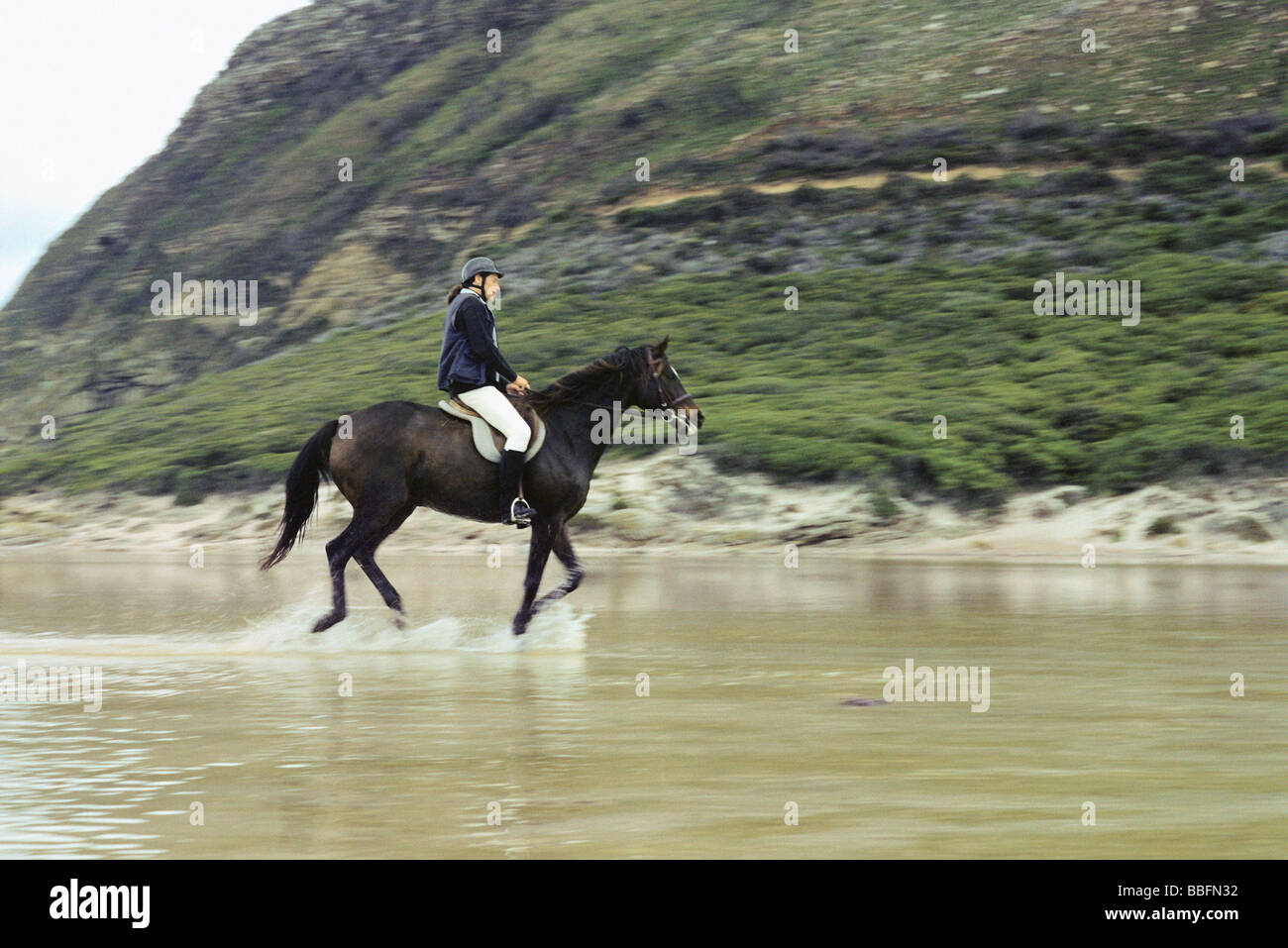 Woman riding horse in shallow water near rocky shore - Stock Image