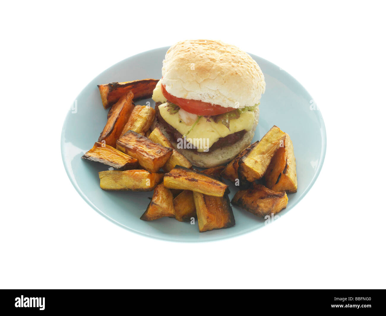 Home Made Cheeseburger with Sweet Potato Wedges - Stock Image