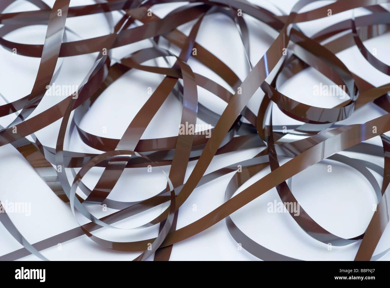 tangled audio tape - Stock Image