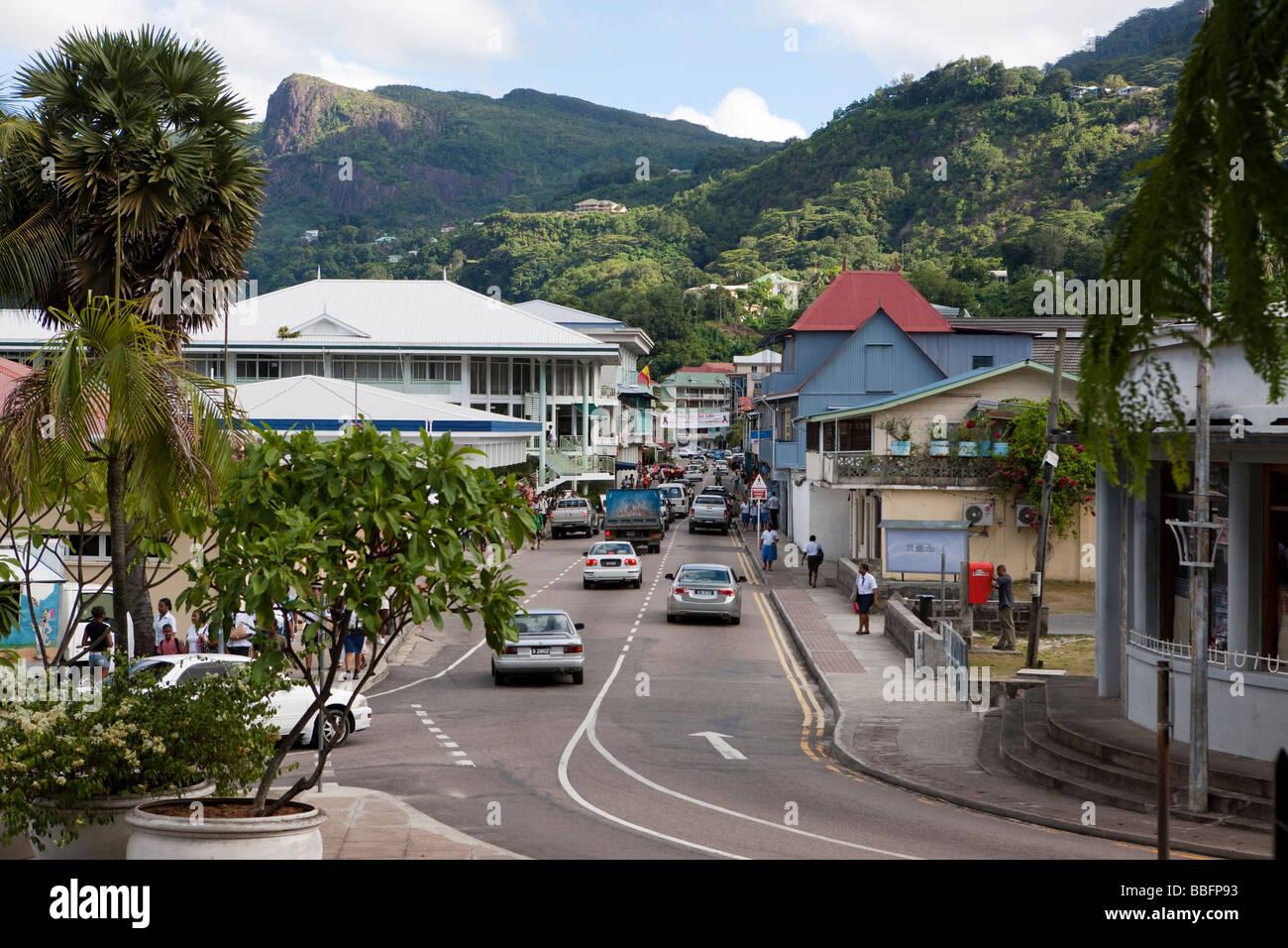 View of Albert Street, capital city Victoria, Mahe Island, Seychelles, Indian Ocean, Africa - Stock Image