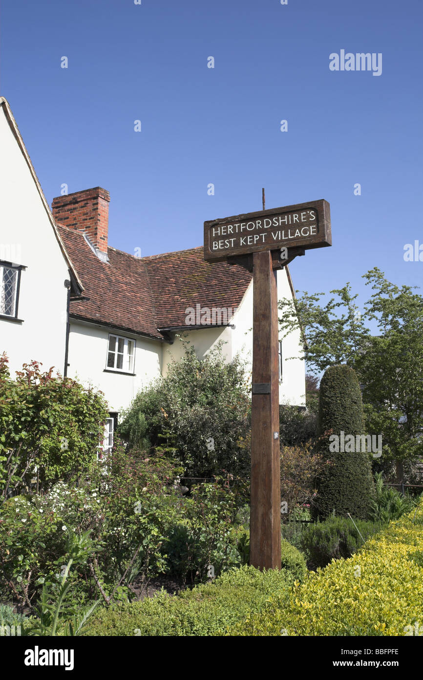 Signpost in the village of Much Hadham once Hertfordshires best kept village - Stock Image