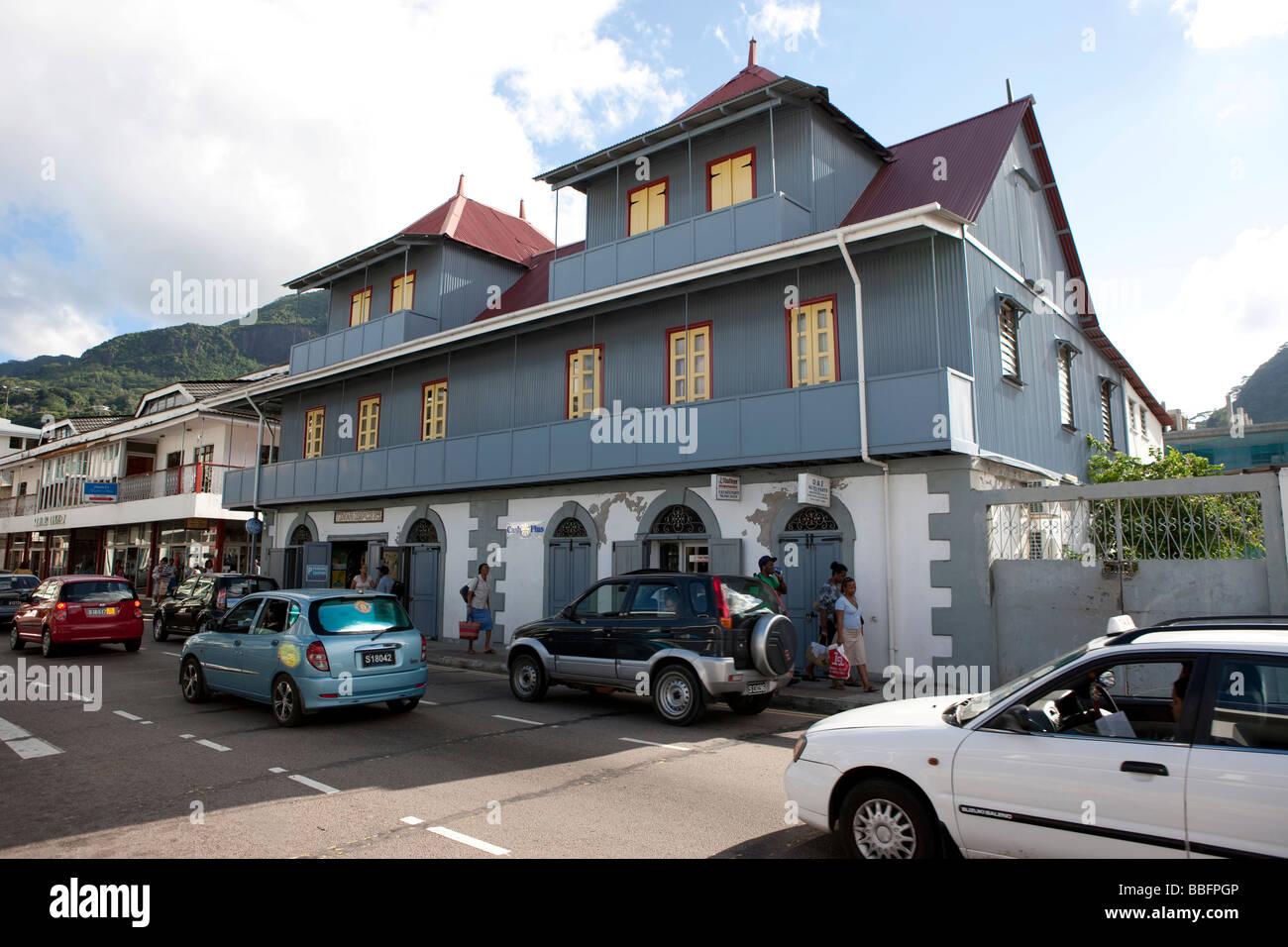 Commercial building on Albert Street, capital city Victoria, Mahe Island, Seychelles, Indian Ocean, Africa - Stock Image