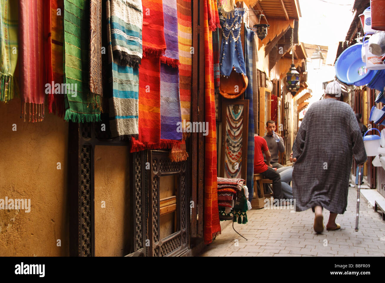 Africa, North Africa, Morocco, Fes, Fès el Bali, Old Fes, Medina, Old Town Alleyway, Shopping Stock Photo