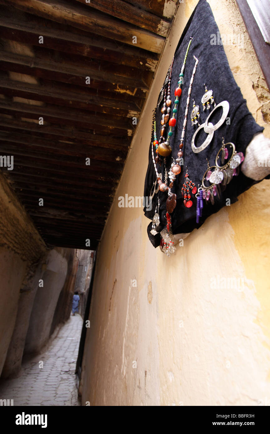 Africa, North Africa, Morocco, Fes, Fès el Bali, Old Fes, Medina, Old Town, Narrow Alley, Local Made Jewellery Stock Photo