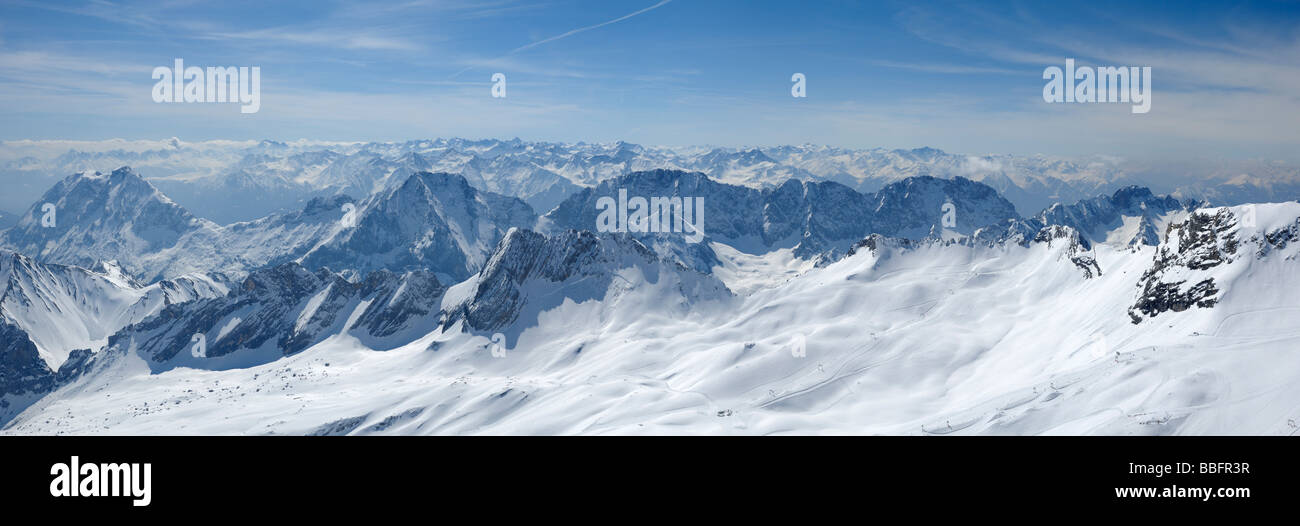 View of Bavarian and Austrian Alps from Zugspitze, Germanys highest mountain, Bavaria, Germany - Stock Image