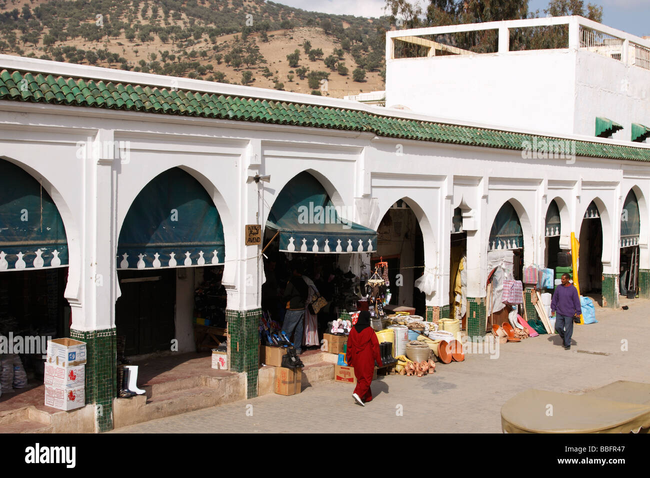 Africa, North Africa, Morocco, Moulay Idriss, Town Square Shop Fronts - Stock Image