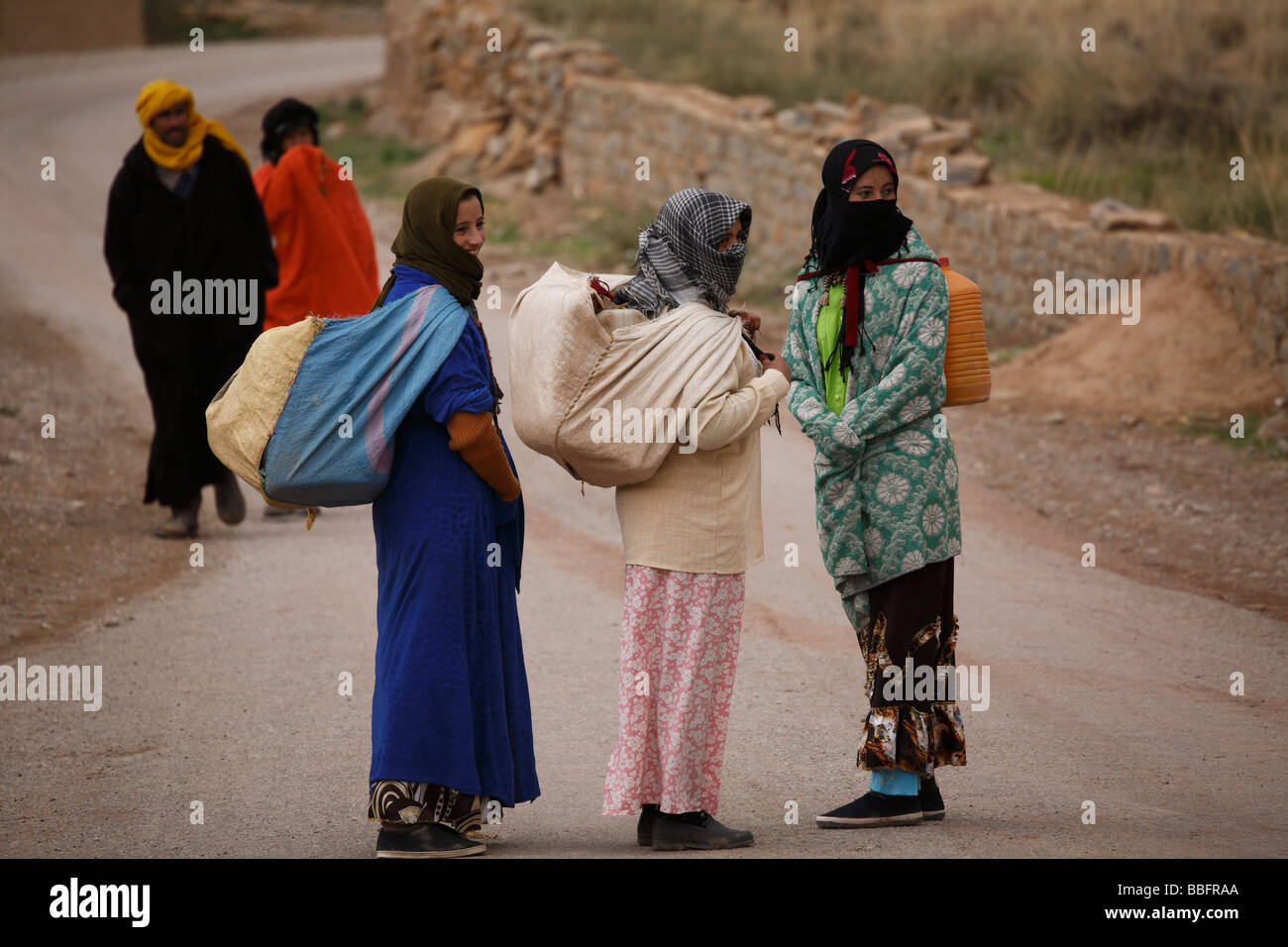 Africa, North Africa, Morocco, Atlas Region, Todra Gorge, Tamtatouchte Village, Berber Women - Stock Image