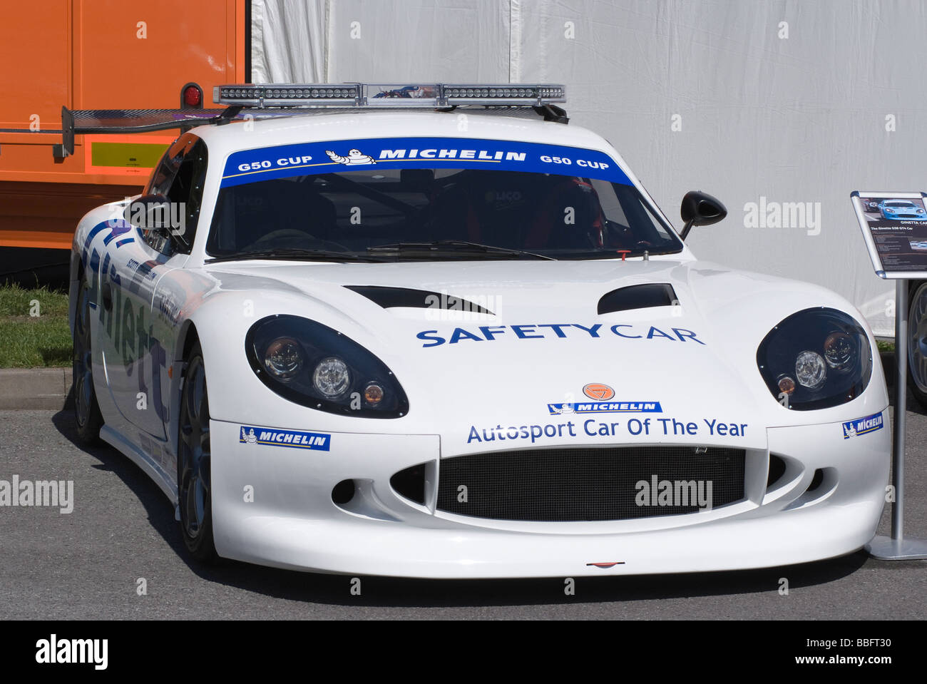 Ginetta G50 Safety Car in Paddock at Oulton Park Motor Racing Circuit Cheshire England United Kingdom UK Stock Photo