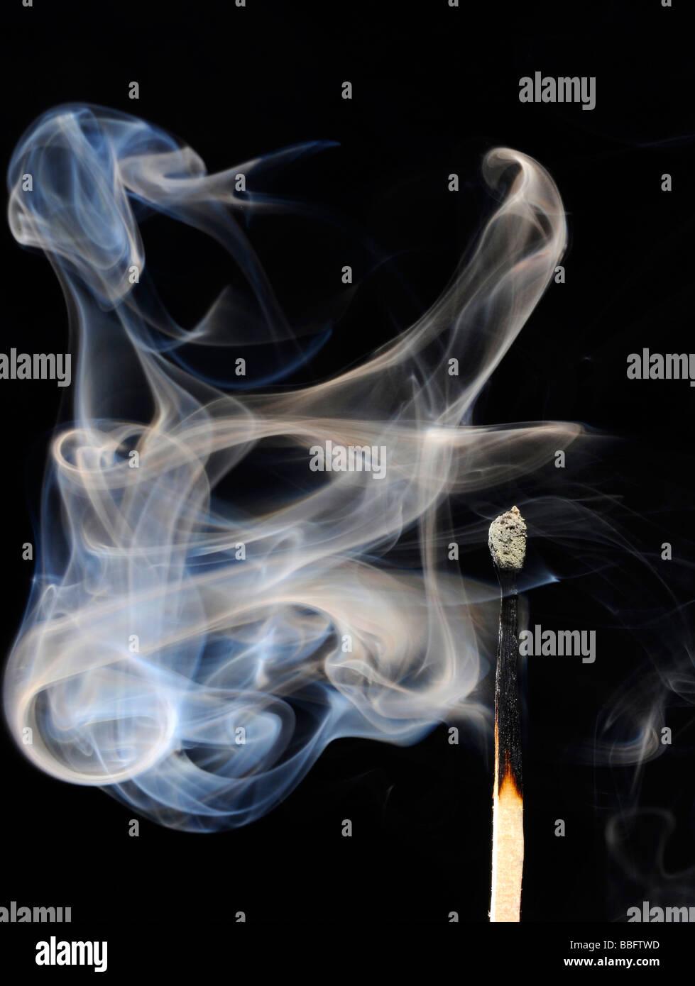 Match burned, smoke - Stock Image