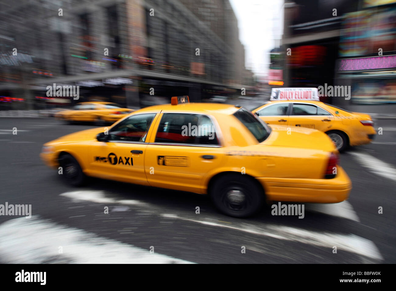 Taxis, yellow cabs, Midtown, Manhattan, New York City, NYC, USA, United States of America - Stock Image