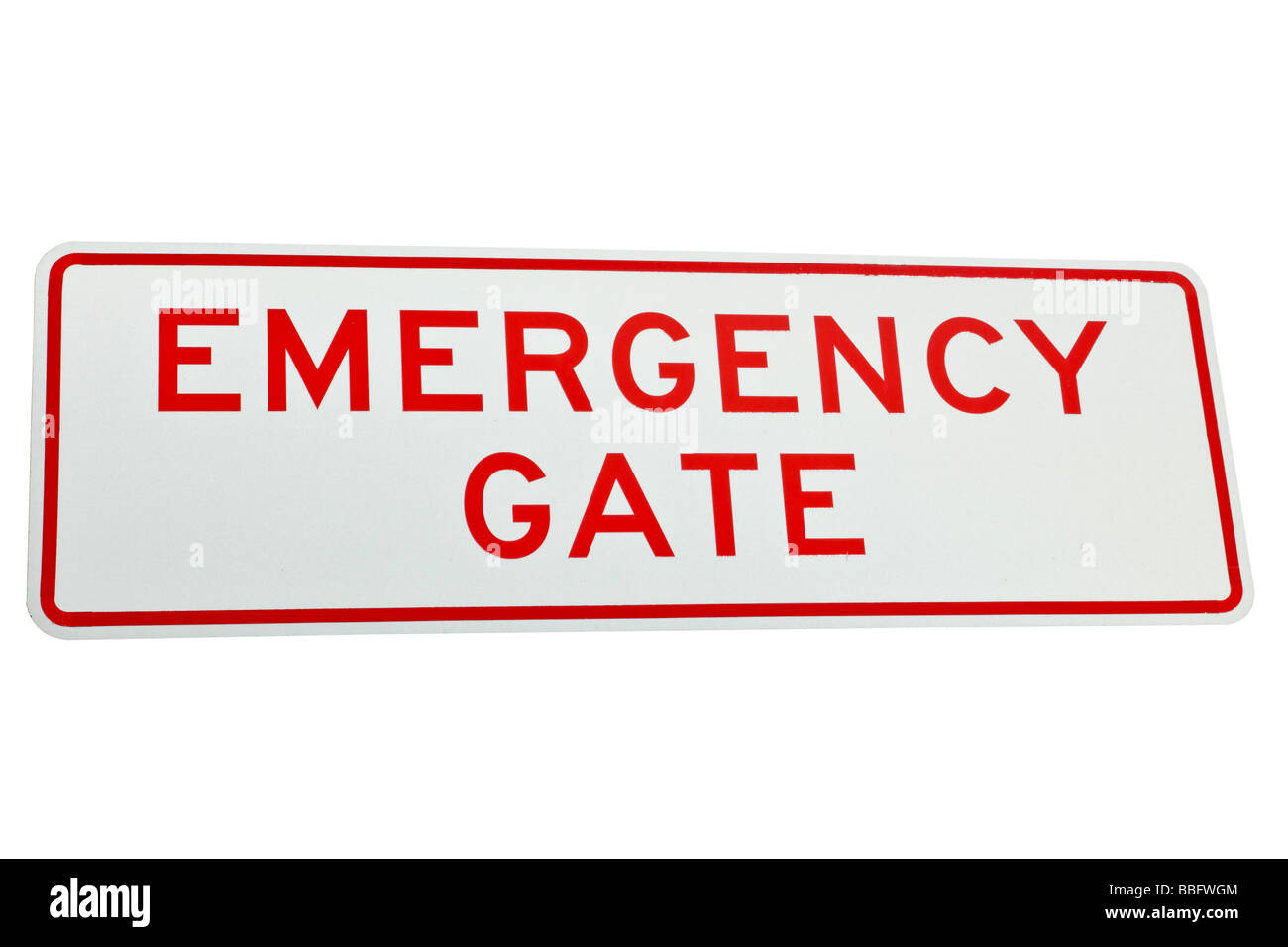 Street or road sign detailing an emergency gate - Stock Image