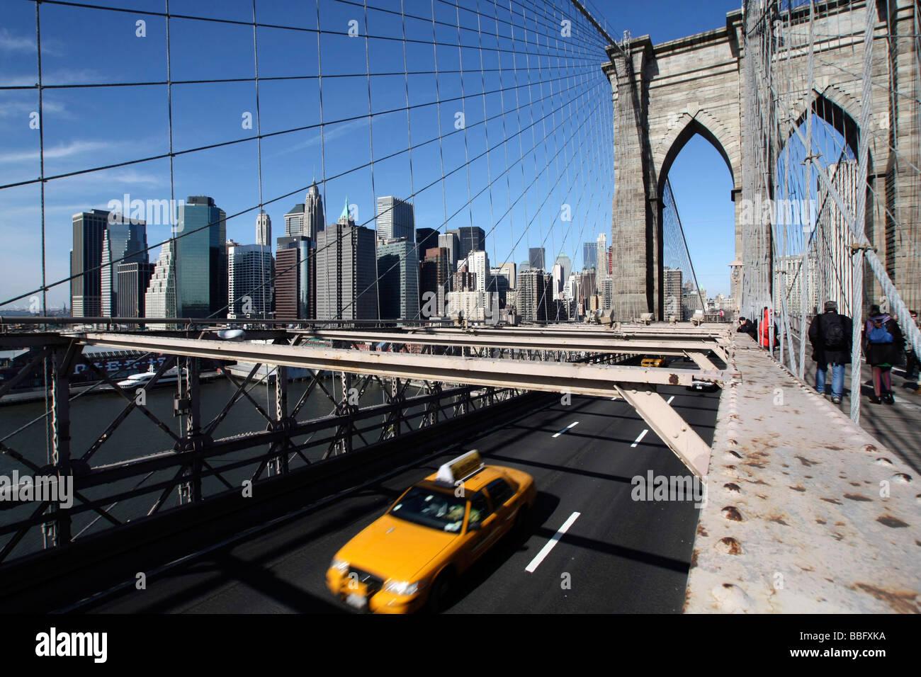 Brooklyn Bridge, Manhattan, New York City, NYC, USA, United States of America - Stock Image