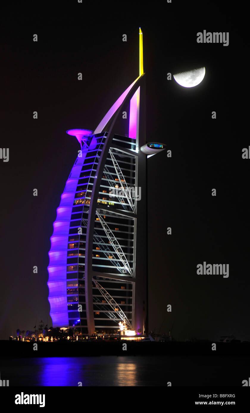 Illuminated Facade Of The Seven Star Burj Al Arab Hotel At Night