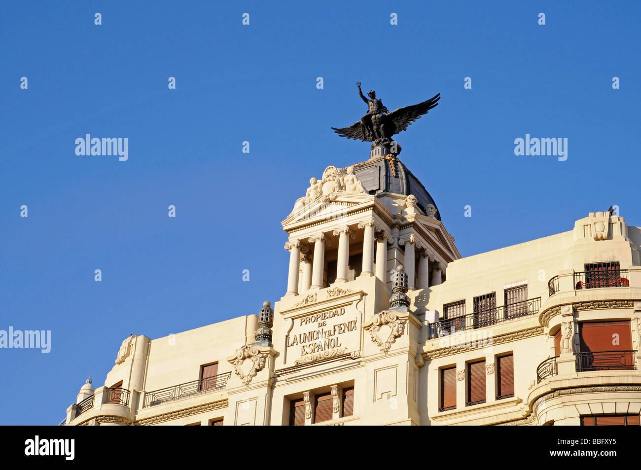 Edificio La Union y El Fenix Espanol building, built in 1929, designed by the architect Viedma Enrique Vidal, railway - Stock Image