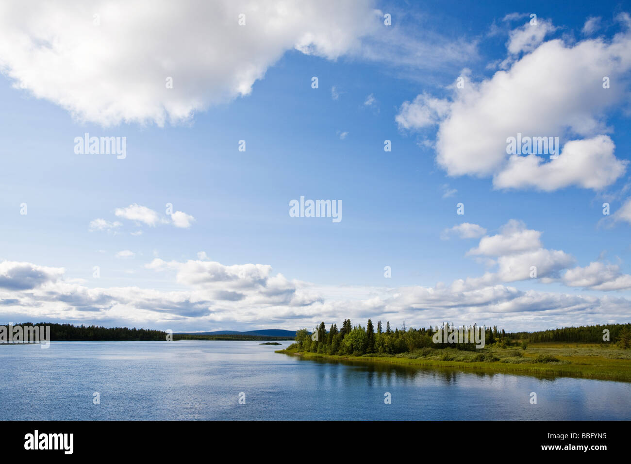 View of a lake in lapland - Stock Image