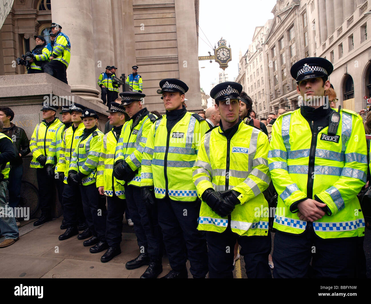 Demonstrators cordoned off by Territorial Support Group police officers in kettling action, G20 protest at the Bank - Stock Image
