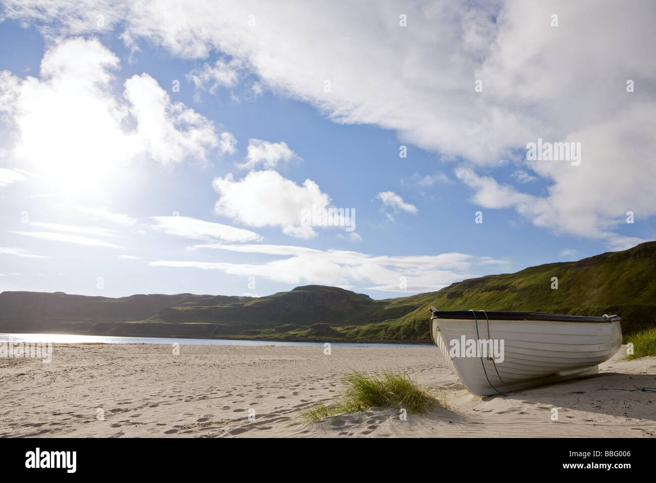 A rowboat on a beach on the isle of mull - Stock Image