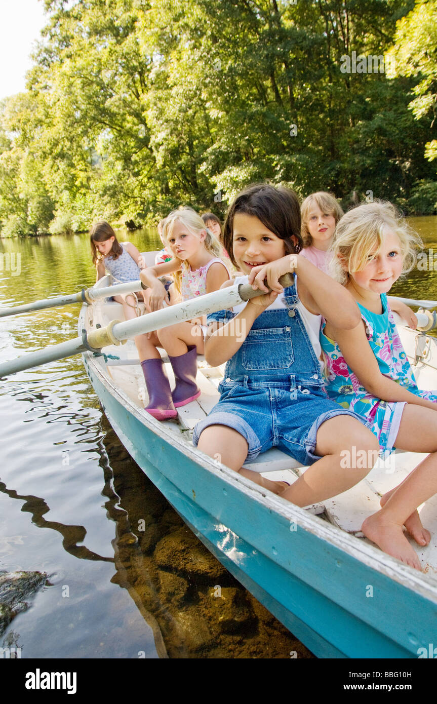 Children on a boat - Stock Image