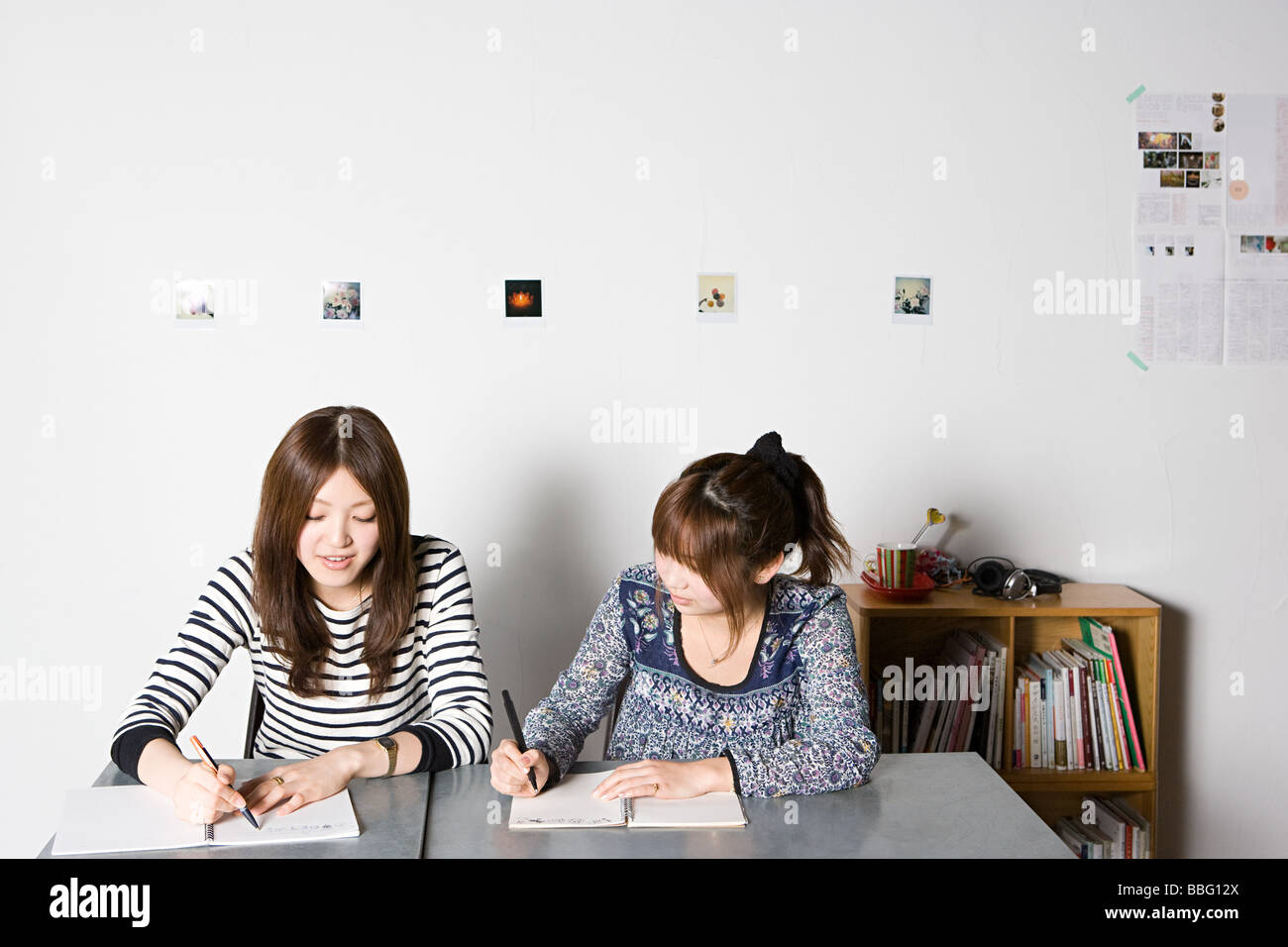 Young women working on project - Stock Image