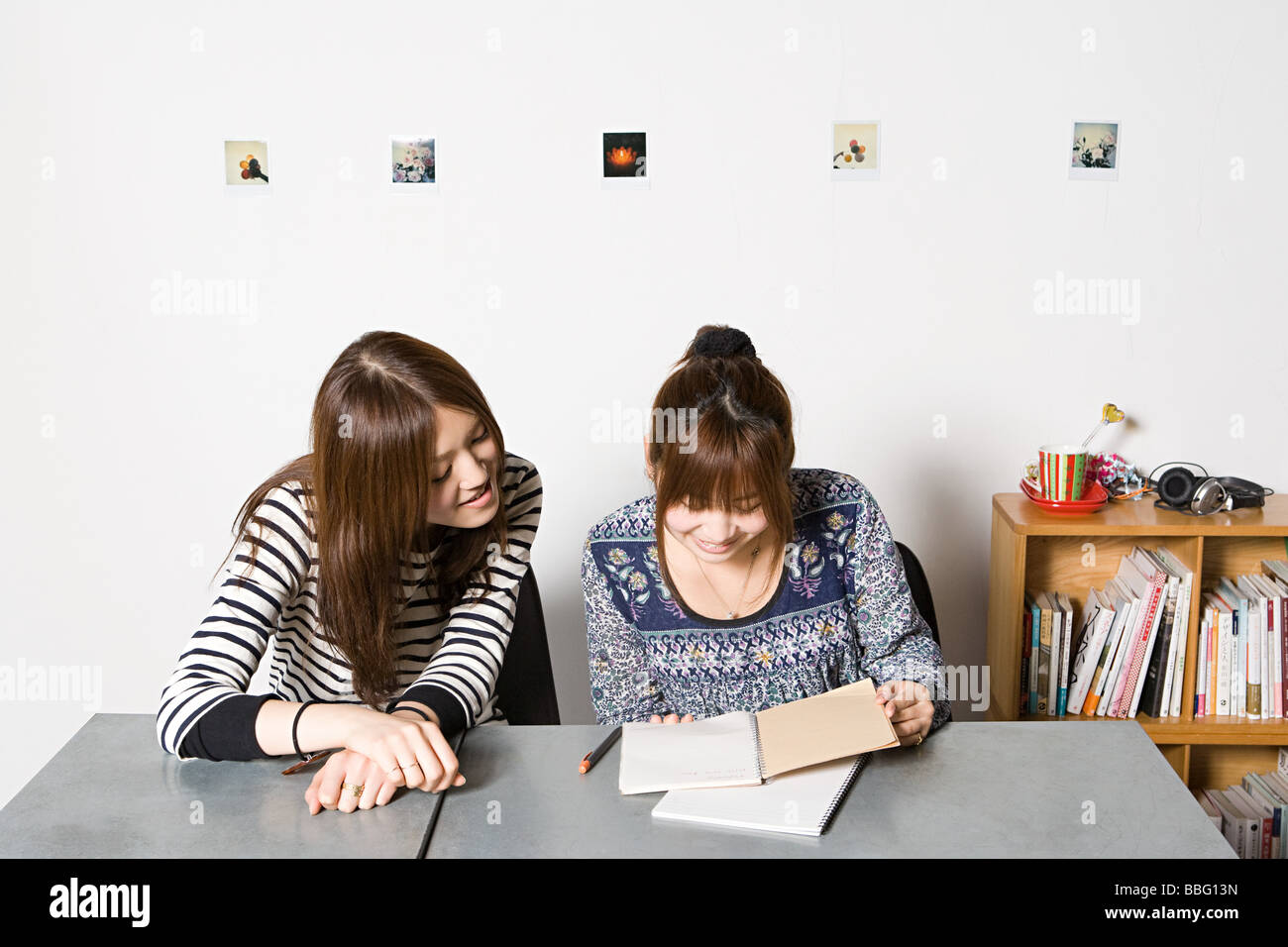Young women looking at notebook - Stock Image