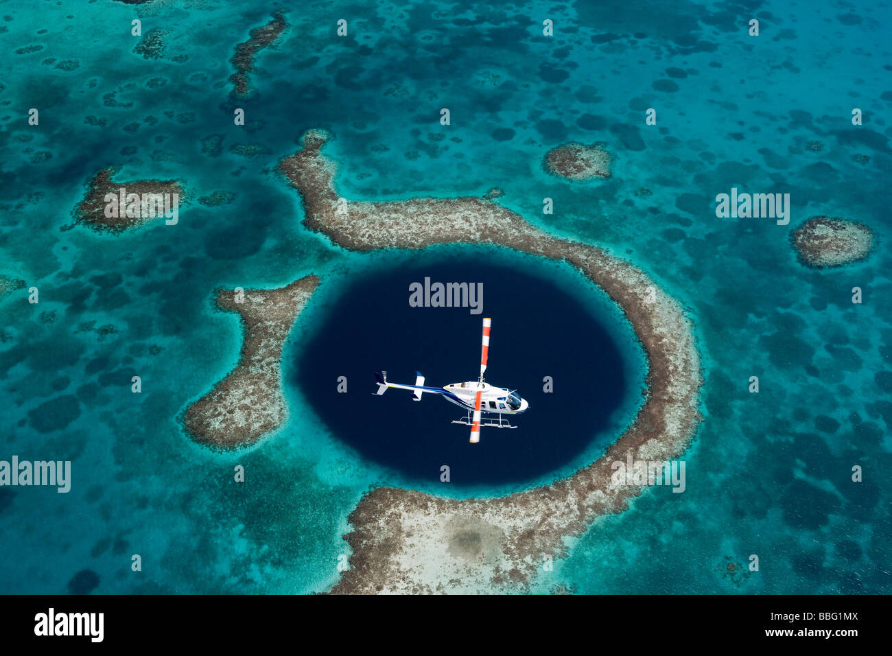 Aerial view of Blue hole. - Stock Image