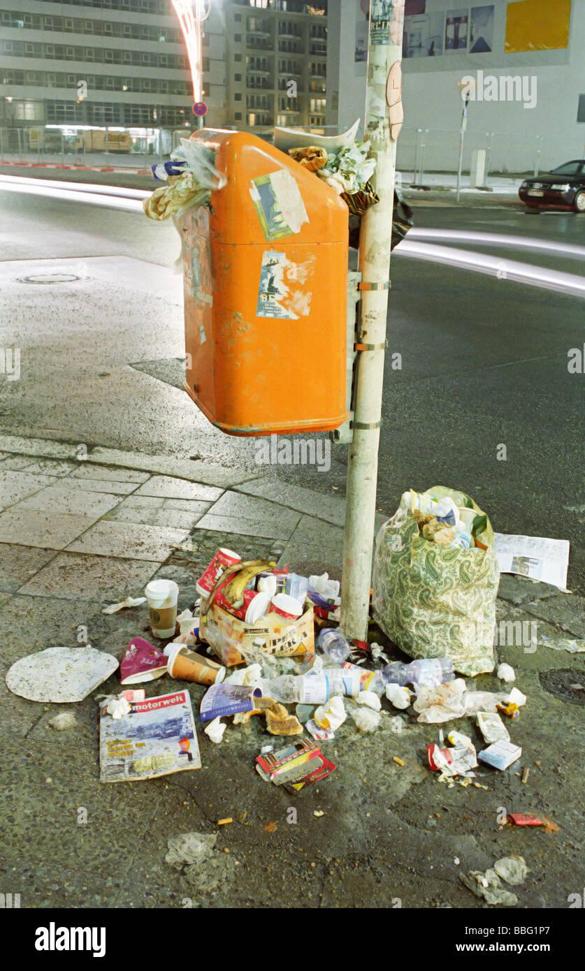 Overflowing bin - Stock Image