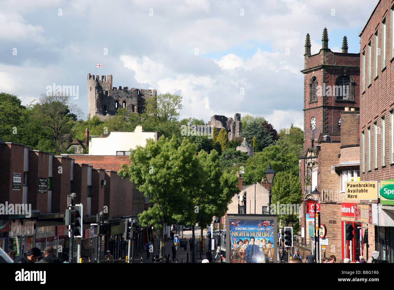 Dudley Castle overlooking town centre, West Midlands - Stock Image