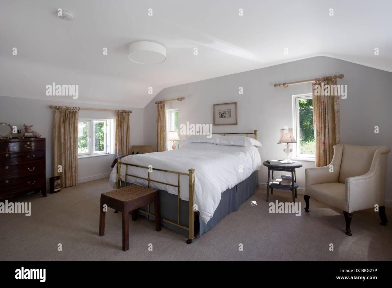 Master bedroom,modern,converted farm house,Irish,new,house - Stock Image