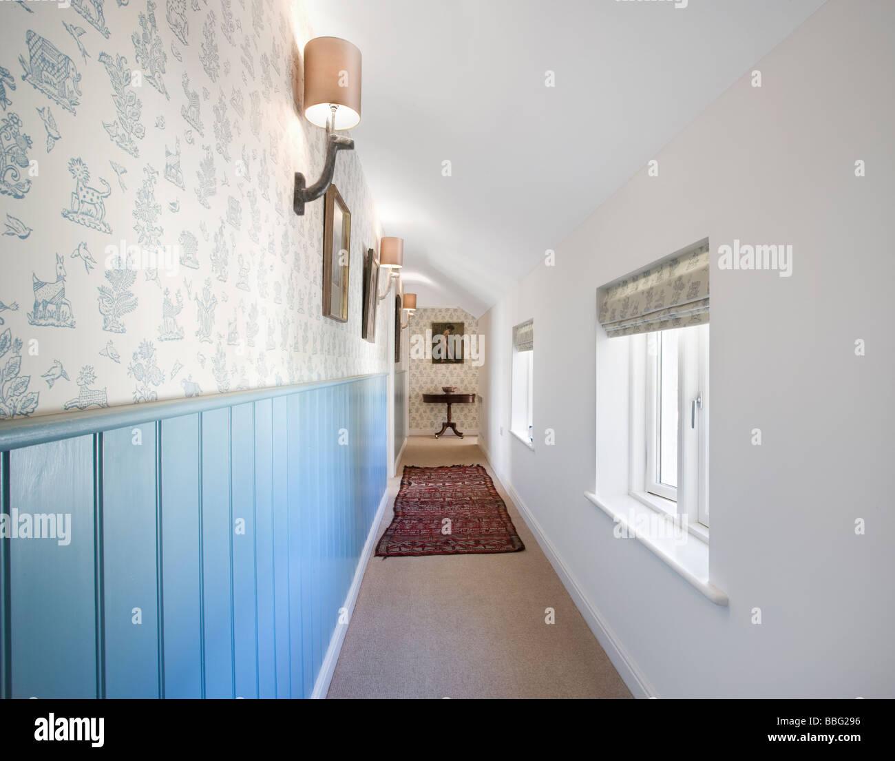 Landing,corridor,bedroom,upper floor,farm house,converted,house - Stock Image