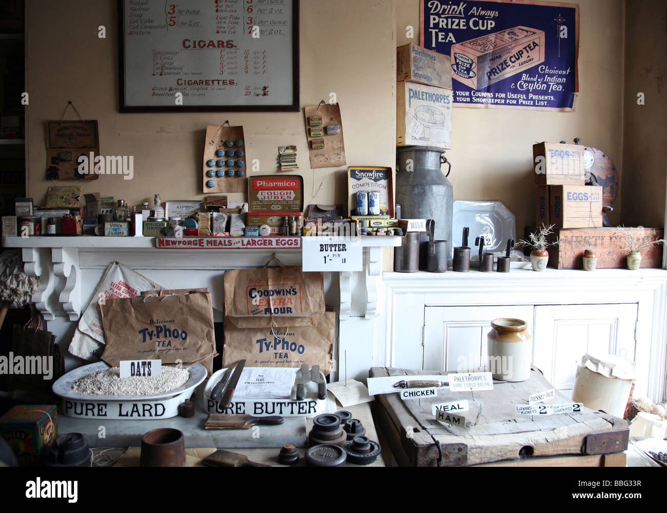 Early 20th century general stores at Black Country Living Museum in W Midlands - Stock Image