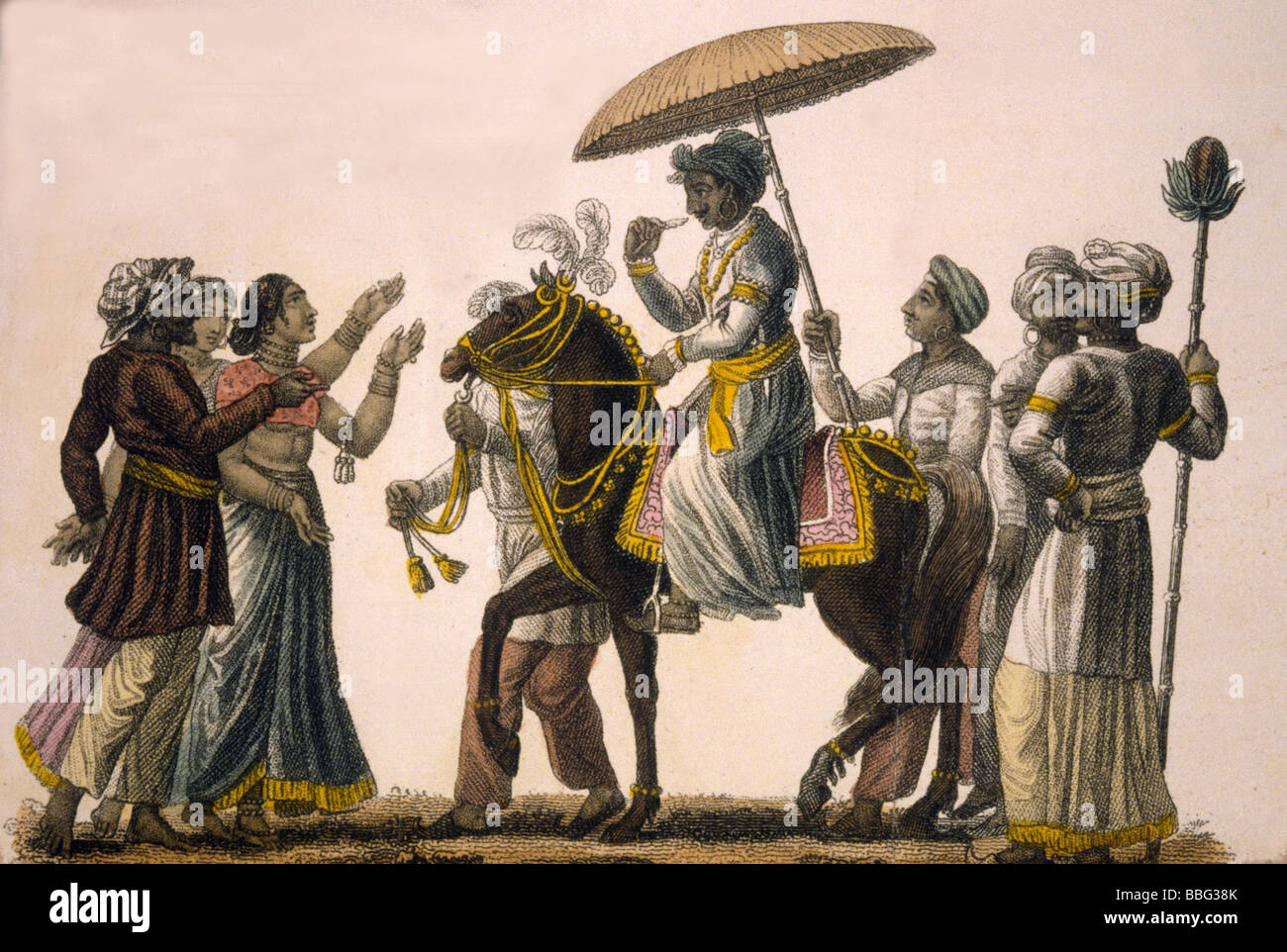 Hindustan Engraving the Bridegroom conducted in state to the house of the Bride 1822. - Stock Image