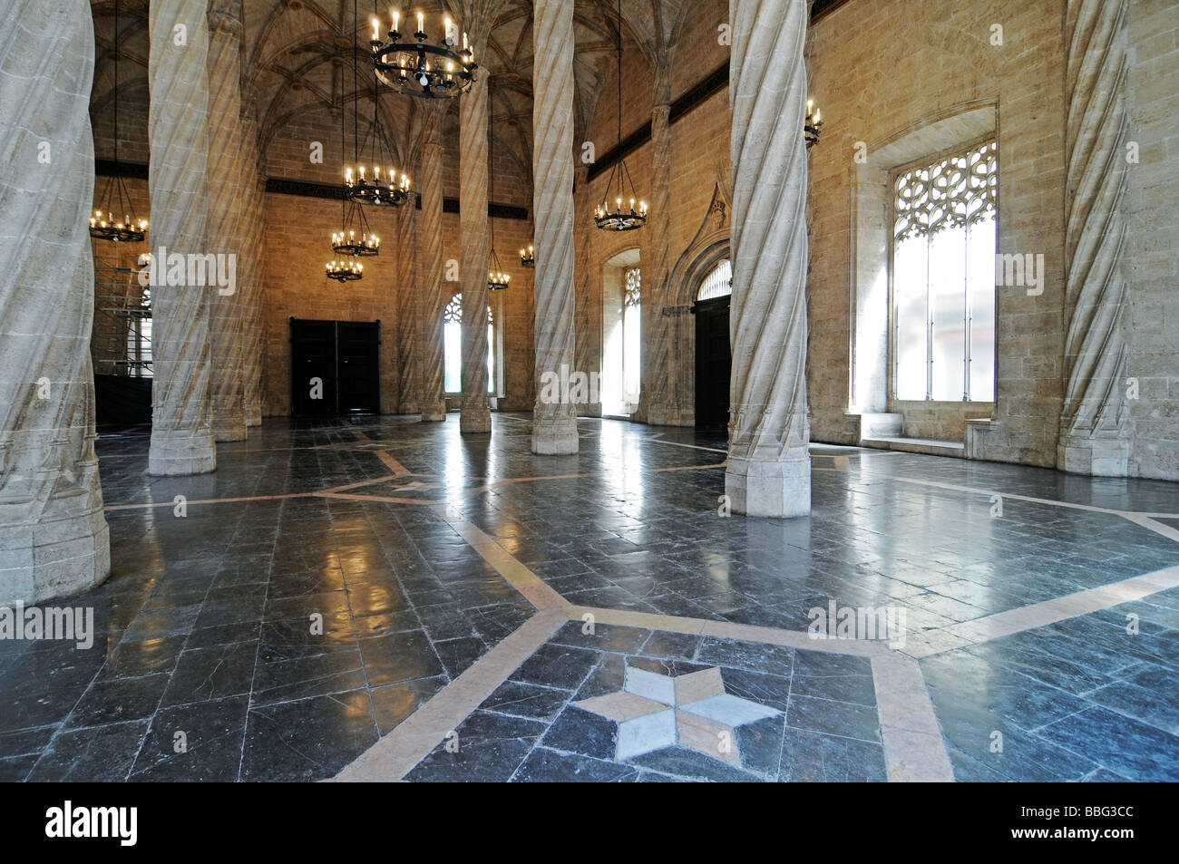 Columns, ceiling vault, La Lonja de la Seda, silk exchange, trade exchange, UNESCO World Heritage Site, Valencia, Stock Photo