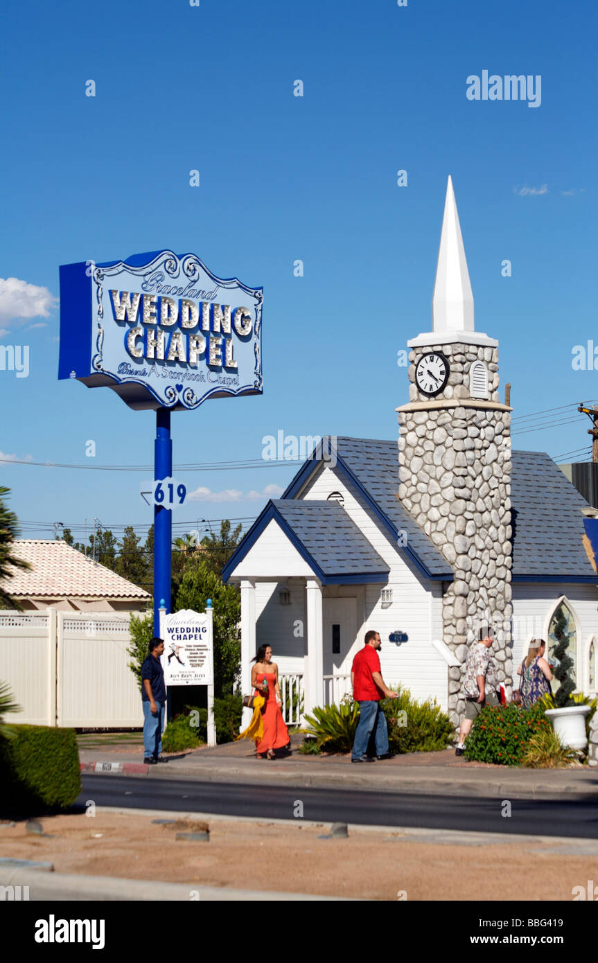 Graceland Wedding Chapel.Graceland Wedding Chapel Las Vegas Strip Stock Photo