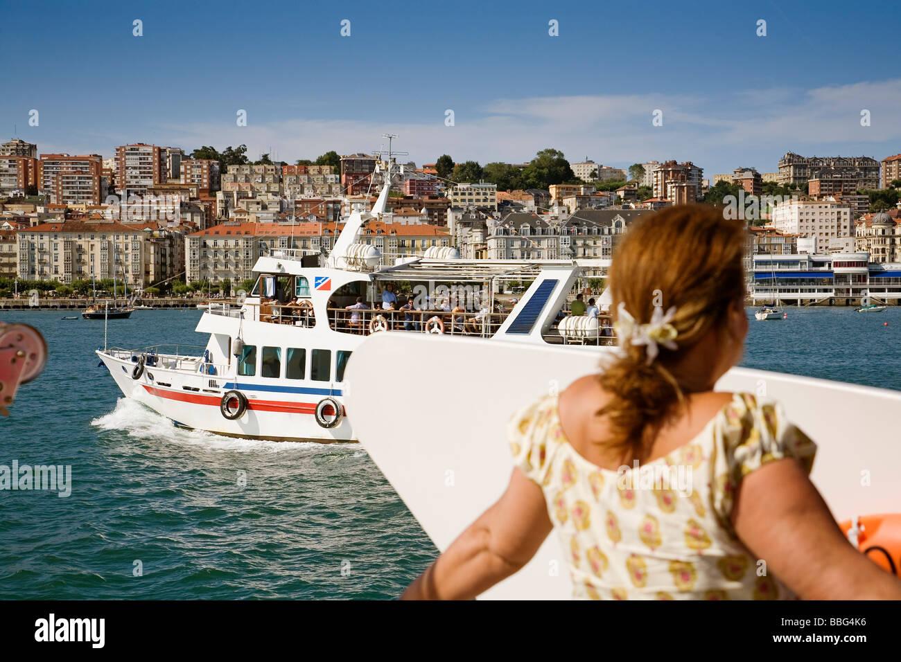 Paseo Turístico en Barco por la Bahia de Santander Cantabria España Boat Tour in the Bay of Santander Cantabria Stock Photo