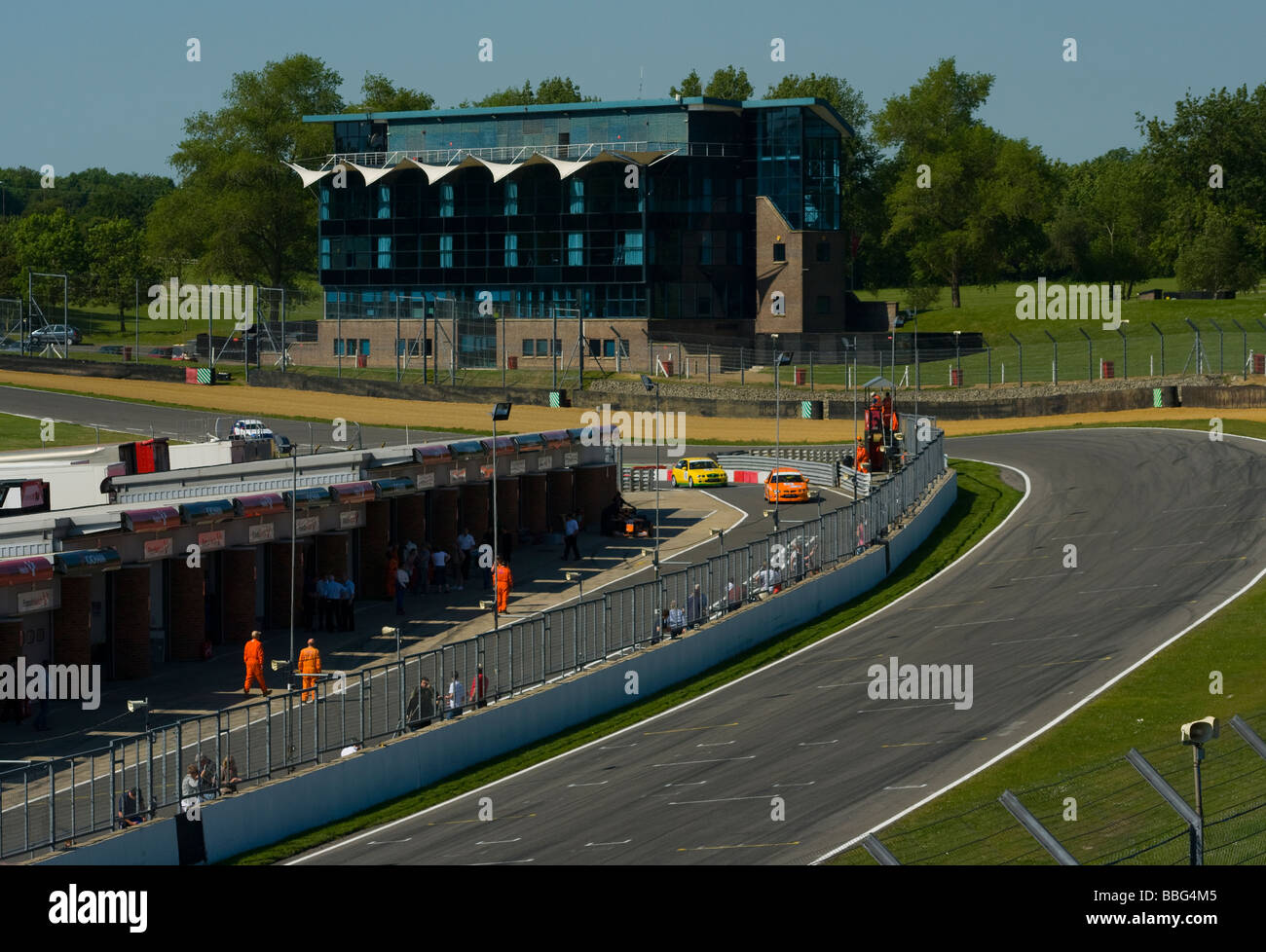 Clarke Curve and The Pit Lane at Brands Hatch Kent England - Stock Image