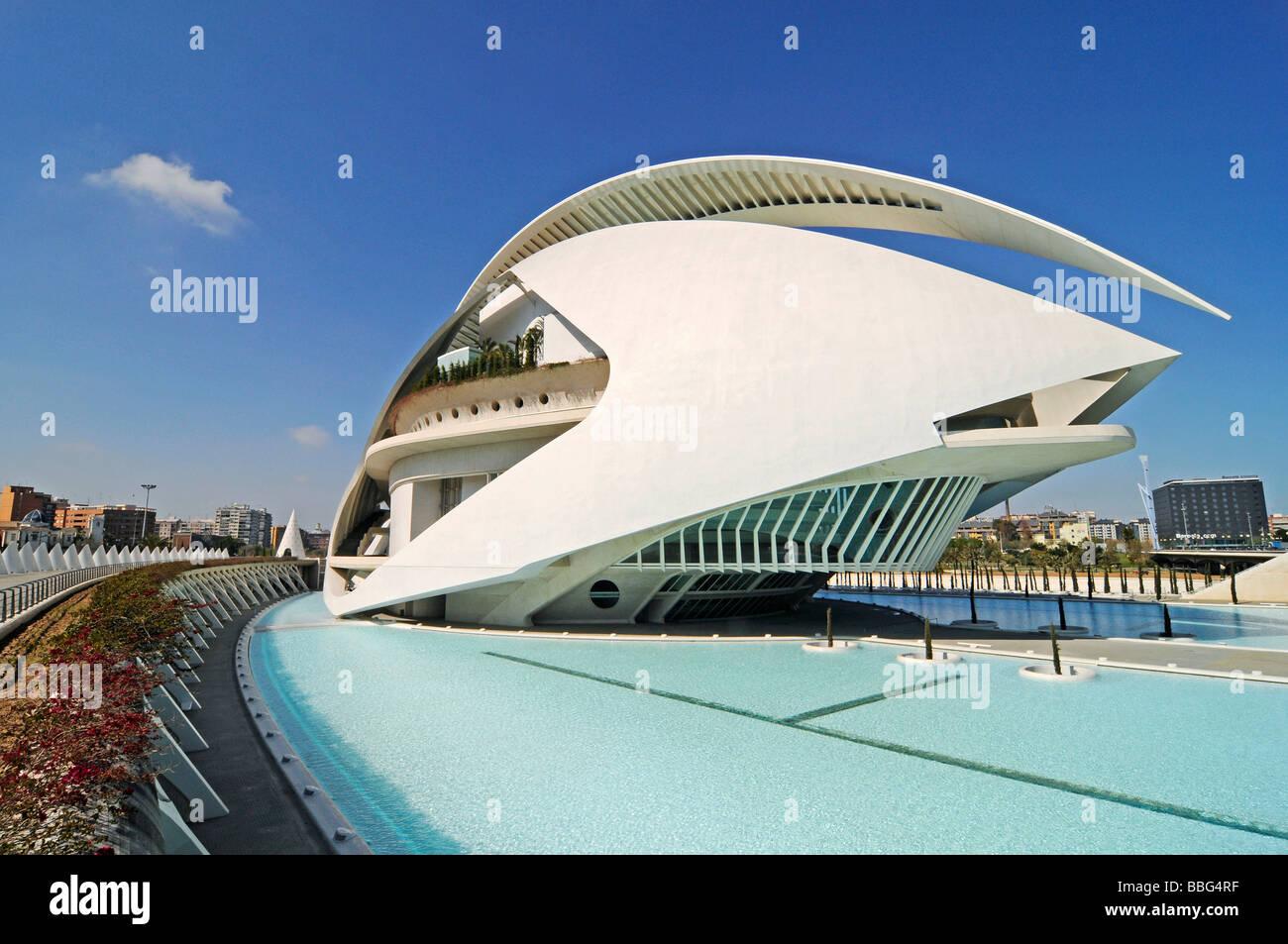 Palau de les Arts Reina Sofia, opera house, music theater, Ciudad de las Artes y Ciencias, city of arts and sciences, Stock Photo
