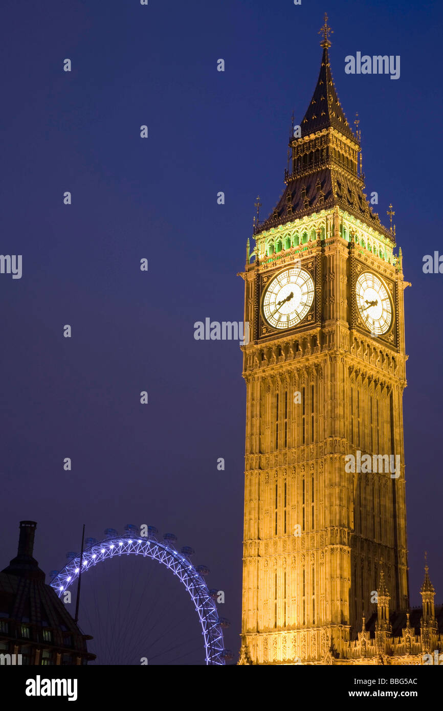 Big Ben and London Eye - Stock Image