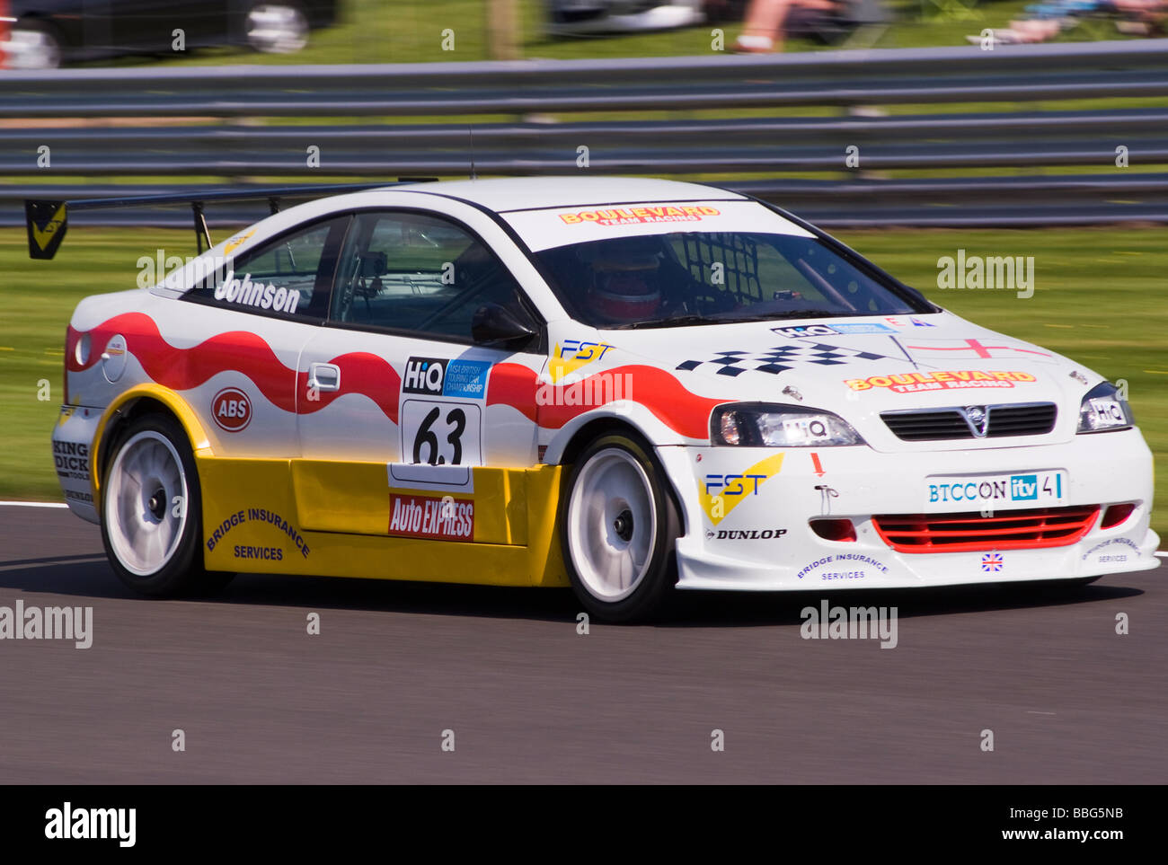 Boulevard Team Racing Vauxhall Astra Coupe Race Car Racing in British Touring Car Championship at Oulton Park Cheshire - Stock Image