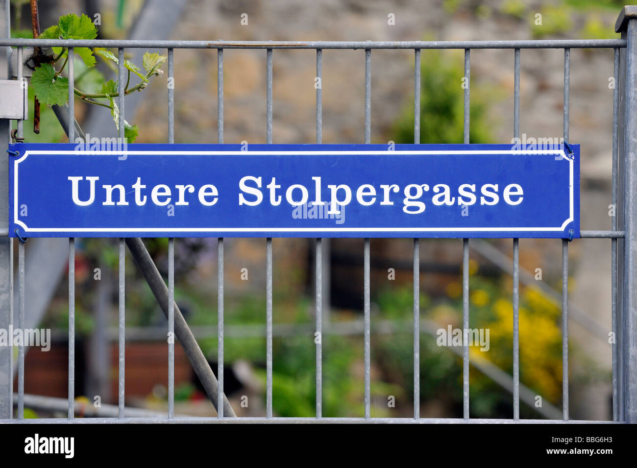 Street sign, Untere Stolpergasse, Marbach am Neckar, Baden-Wuerttemberg, Germany, Europe - Stock Image