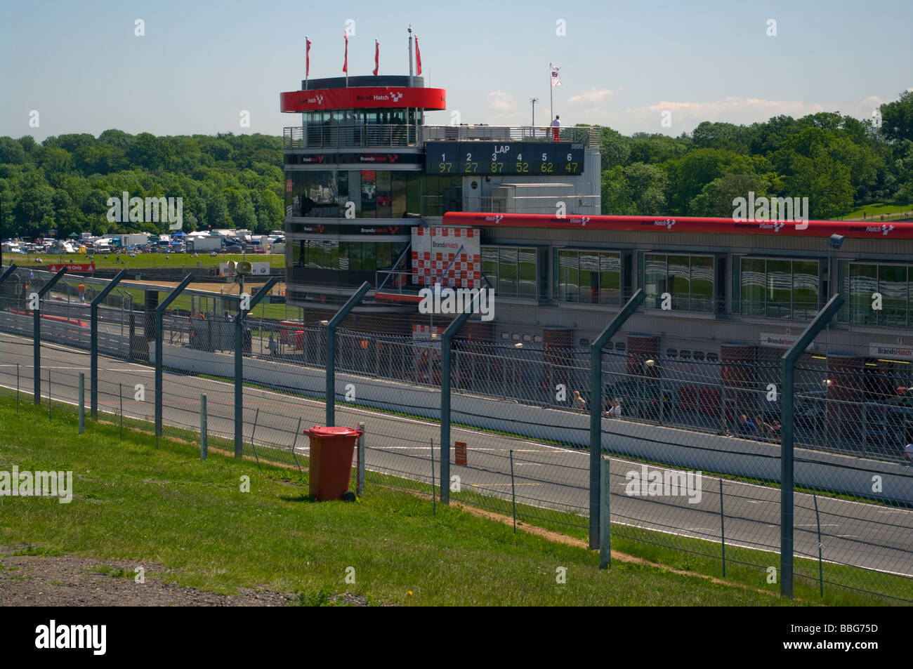 Brabham Straight and The Control Centre at Brands Hatch Kent England - Stock Image