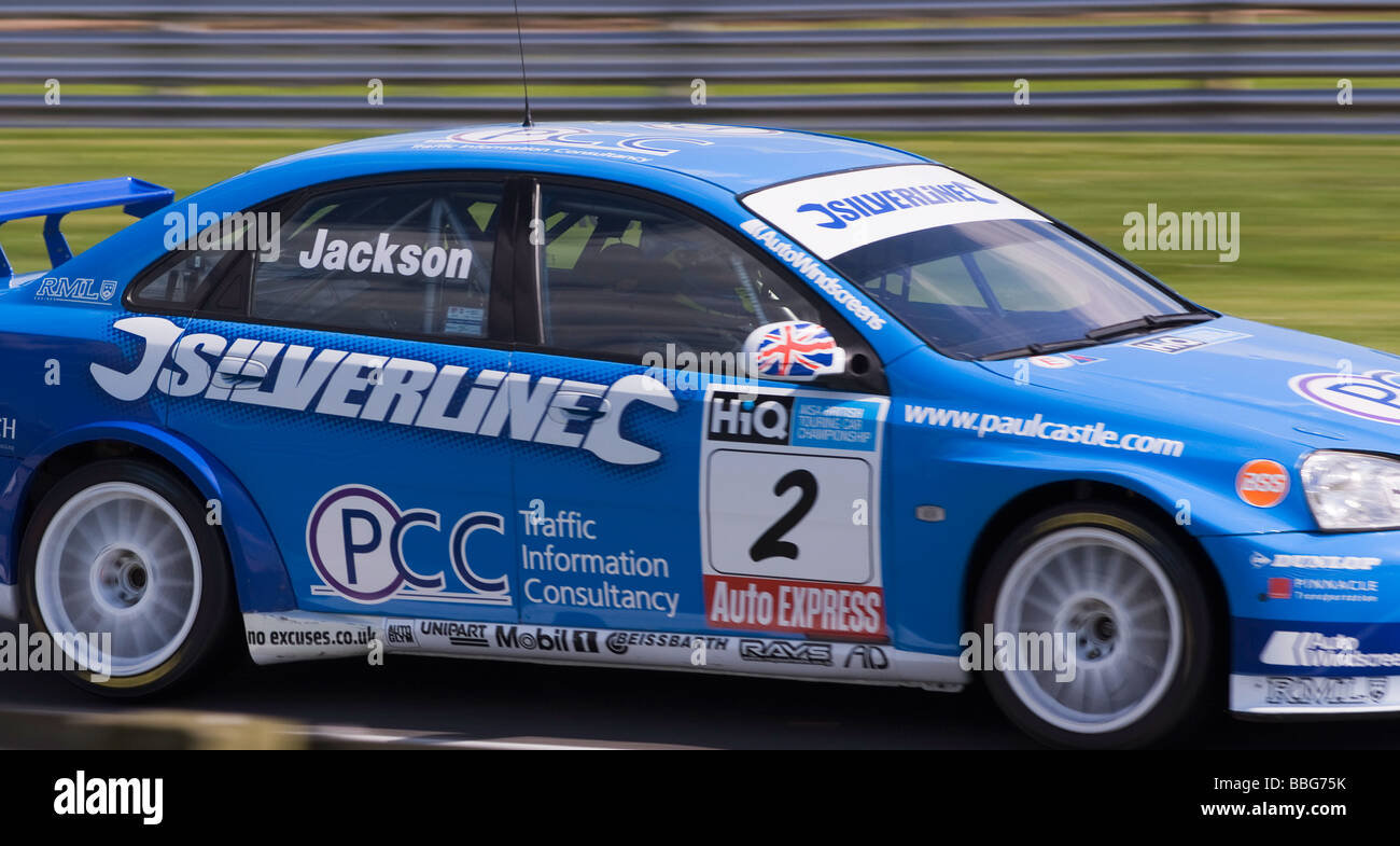 Pale Blue Silverline Racing Chevrolet Lacetti Driven by Mat Jackson in British Touring Car Championship at Oulton - Stock Image
