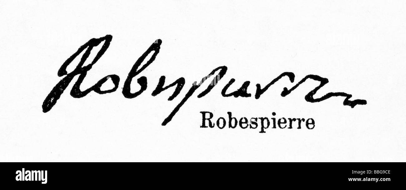 signature from Maximilien Robespierre - Stock Image
