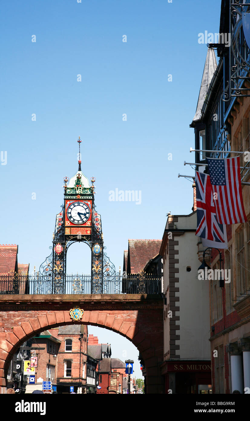 Eastgate Street and Victorian Clock Chester City England UK United Kingdom - Stock Image