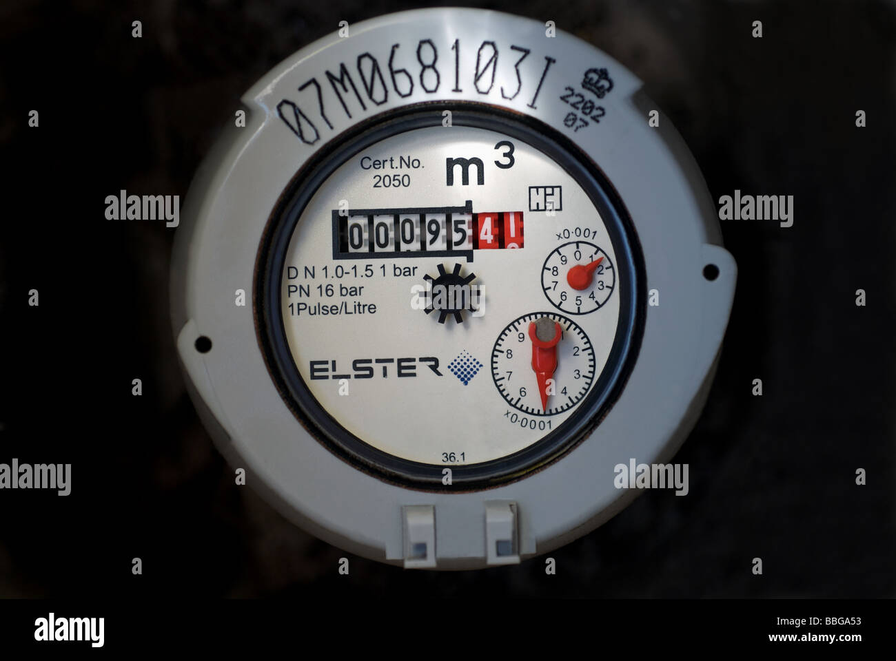 Domestic water meter, on a property in the Anglian Water region of the UK. - Stock Image